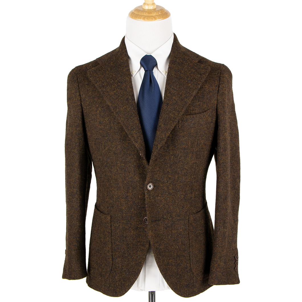 LNWOT Shibumi Firenze Bespoke Brown W. Bill Wool Tweed Patch Pkts 3/2 Jacket 36R