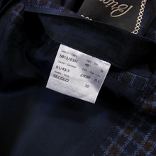 LNWOT Brioni Blue Brown Cashmere Silk Flannel Checked Vented 2Btn Jacket 44R