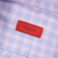 Isaia Pink Blue Cotton Checked Plaid Spread Collar Dress Shirt 17US