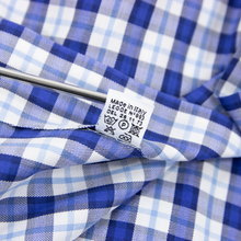 Kiton Blue White Cotton Check Plaid Spread Collar Dress Shirt 40EU/15.75US