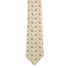Hermes Tan Multi Color 100% Silk Hole In One Rabbit Glossy Tipped Tie 7956 EA