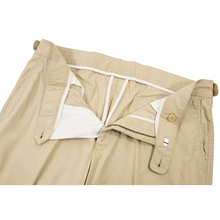 NWT Faconnable Beige Cotton Unlined Side Tabs Flat Front Pants 34W