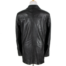 NWT Schiatti & Co. Black Leather Multi Pocket Side Tabs Field Jacket