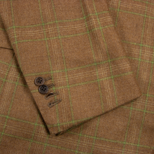 Kiton Rust Orange Green 100% Cashmere Plaid Woven Handmade Dual Vents Jacket 42L