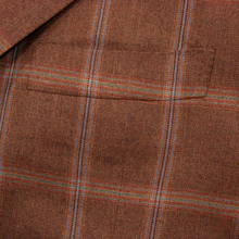 Kiton Brown Red 100% Cashmere Windowpane Woven Dual Vents Handmade Jacket 42R