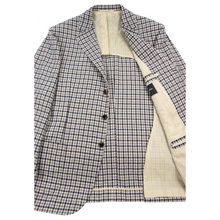 NWOT Cesare Attolini Taupe Blue Cashmere Flannel Checked Patch Pkt Jacket 44R
