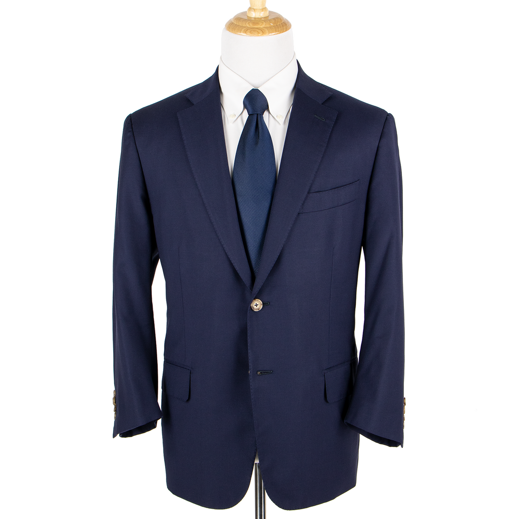 CURRENT Isaia Admiral Blue S130's Wool Woven Dual Vents 2Btn Jacket 46S
