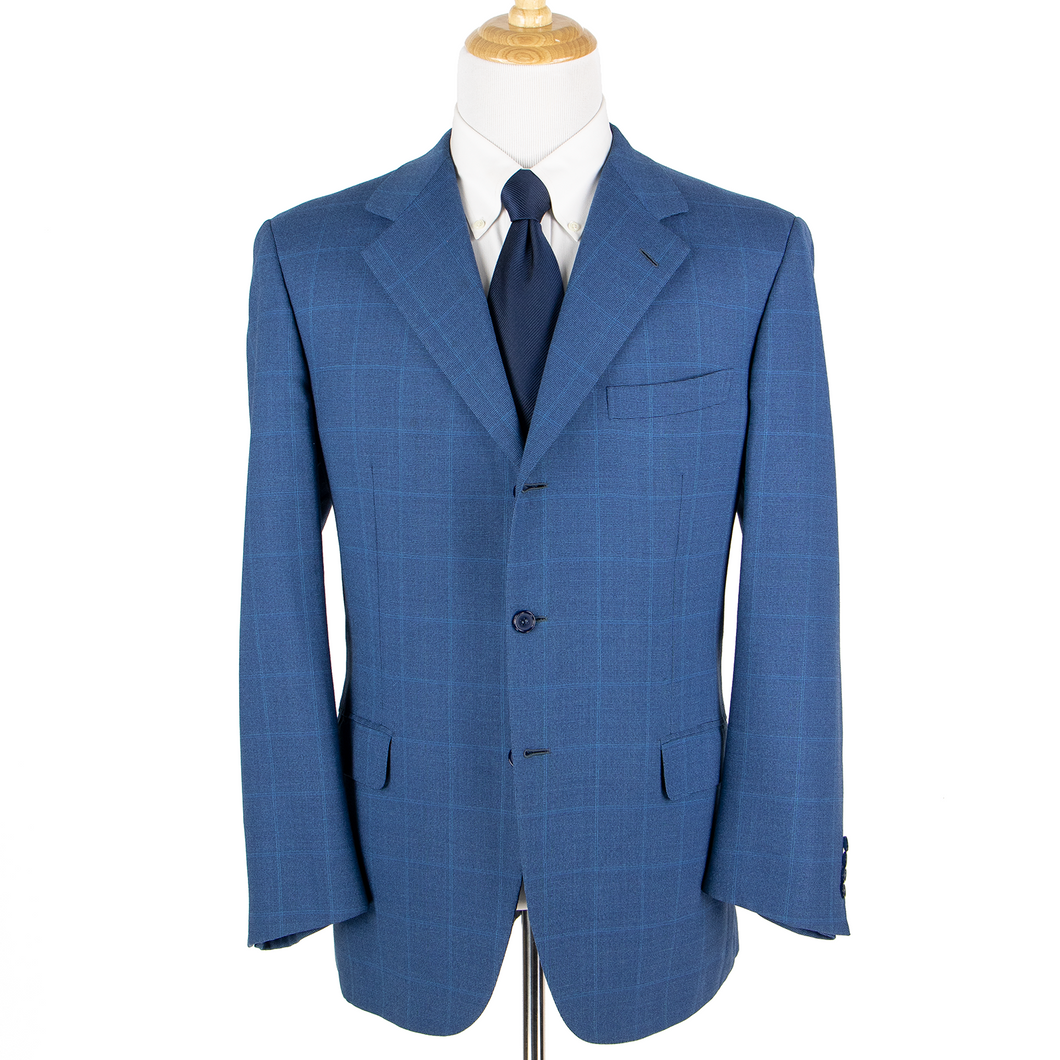 Brioni Cerulean Blue Wool Woven Windowpane Dual Vents 3Btn Jacket 46R