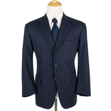 Paul Stuart Denim Blue Wool Flannel Striped Dual Vents 3Btn Suit 44R