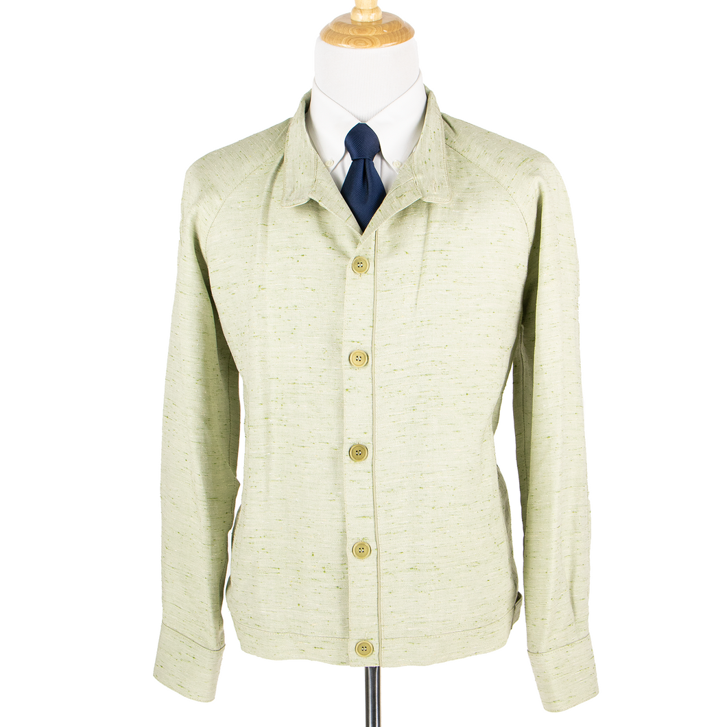 NWT Schiatti & Co. Pale Green Silk Linen Flecked Raglan Leather Trim Jacket 52US