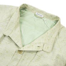 NWT Schiatti & Co. Pale Green Silk Linen Flecked Raglan Leather Trim Jacket 36US