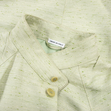 NWT Schiatti & Co. Pale Green Silk Linen Flecked Raglan Leather Trim Jacket 48US
