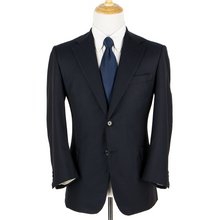 Oxxford Mason Navy Blue S110s Wool Herringbone Dual Vents Pleated 2Btn Suit 40R