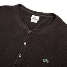 Lacoste Brown Cotton Textured LS Piped Half Button Scoop Neck Polo Sweater 2XL