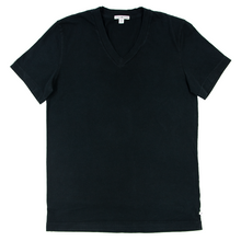 James Perse Standard Raven Black Cotton Short Sleeve V-Neck T-Shirt 0/X-Small