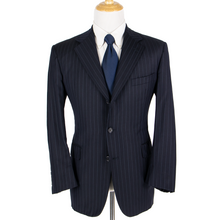 Brooks Brothers Navy Blue Loro Piana S120s Wool Striped Vented 3Btn Jacket 42R