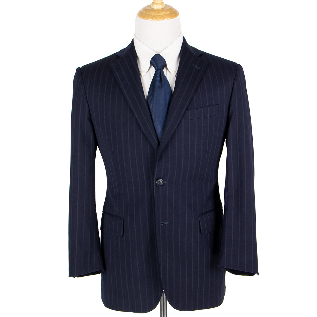 Brooks Brothers Madison Navy Blue Pinstriped Lined Vented 2Btn Jacket 38S