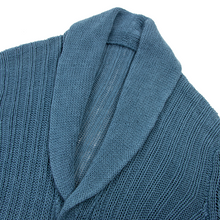 Loro Piana Cerulean Blue Linen Ribbed Knit Shawl Collar Cardigan Sweater Large