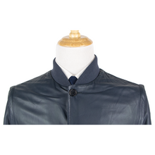 NWT Schiatti Club Blue Nappa Leather Shawl Collar Bomber Jacket
