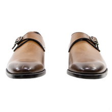 NIB Zegna Brown Burnished Calfskin Leather Brogue Monk Strap Shoes 8.EU/9.5US