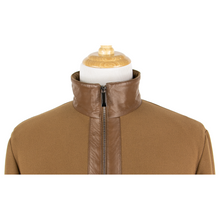 NWT Schiatti Club Brown Cashmere Leather Trim Padded Jacket