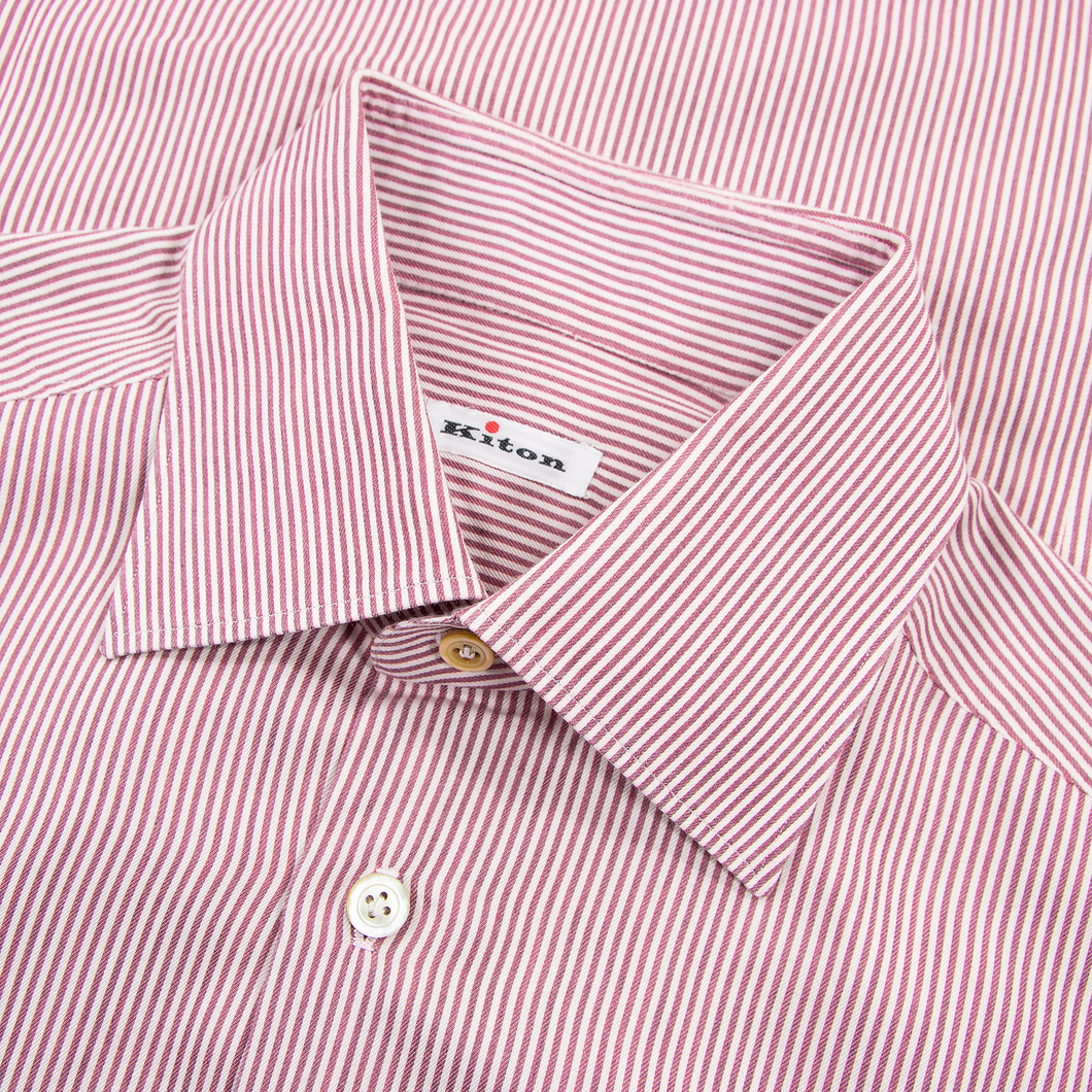LNWOT Kiton Red White Cotton Striped MOP Spread Collar Dress Shirt 40EU/15.75US
