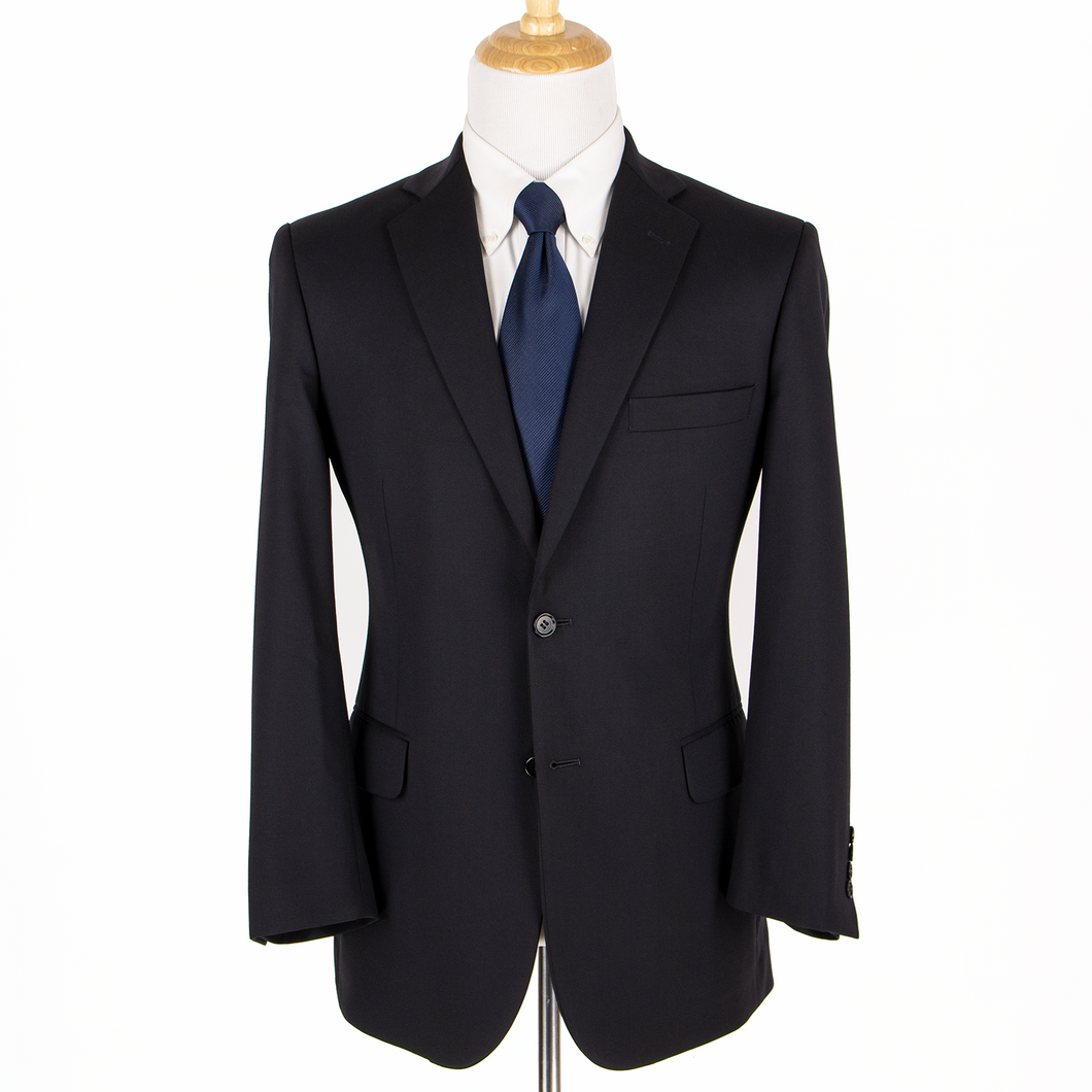 Brooks Brothers Navy Blue Wool Twill Lined Vented Flat Front 2Btn Suit 40R