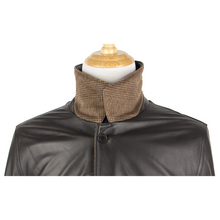 NWT Schiatti & Co. Brown Leather Wool Cashmere Reversible Padded Blouson Jacket