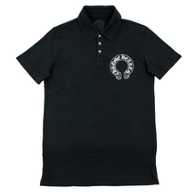 Chrome Hearts Black Cotton .925 Sterling Silver Btns Short Sleeve Polo Shirt S