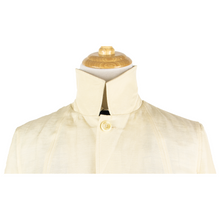 NWT Schiatti & Co. Cream Silk Linen Top Stitch Unstructured Lightweight Jacket