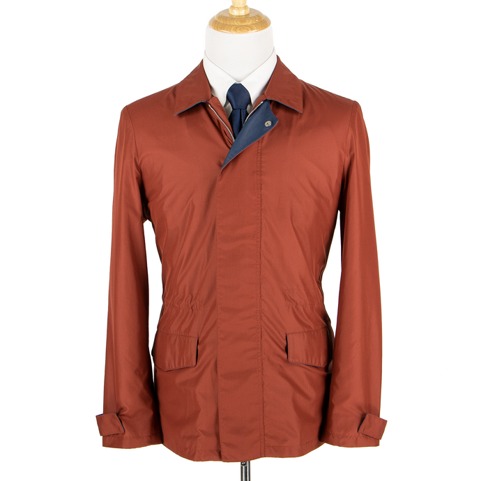 NWT Schiatti & Co. Red-Orange Microfiber Leather Trim Unstructured Jacket