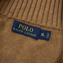 CURRENT Polo Ralph Lauren Brown Cotton Leather Pull Half Zip Knit Sweater XL