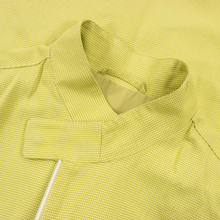 NWT Schiatti Chartreuse 100% Silk Houndstooth Leather Trim Racer Jacket