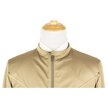 NWT Schiatti & Co. Tan Nylon Leather Trim Glossy Cafe Racer Jacket