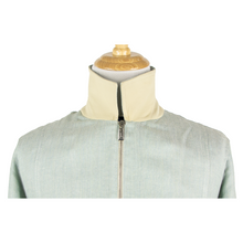NWT Schiatti Pistachio Silk Linen Hopsack Leather Trim Blouson Jacket