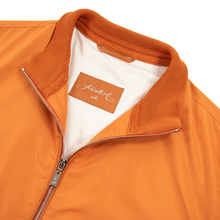 NWT Schiatti & Co. Orange Microfiber Leather Trim Glossy Bomber Jacket