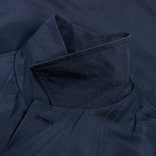 NWT Schiatti & Co. Blue Silk Linen Top Stitch Glossy Unstructured Car Coat
