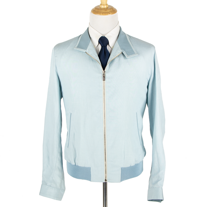 NWT Schiatti & Co. Ice Blue 60% Silk Preforated Leather Trim Blouson Jacket