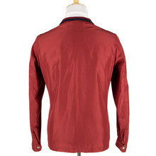 NWT Schiatti Candy Red Nylon Leather Trim Unstructured Glossy Chore Jacket