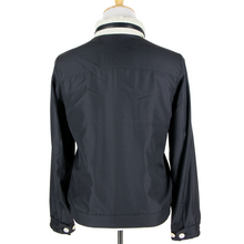 NWT Schiatti Navy 100% Silk Perforated Leather Trim Hooded Blouson Jacket