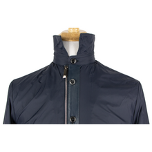 NWT Schiatti Club Navy Blue Nylon Leather Trim Unstructured Blouson Jacket