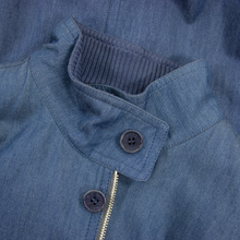 NWT Schiatti & Co. Blue Chambray Cotton Leather Trim Blouson Jacket