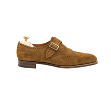 NIB $1450 Edward Green Hove E82 Nutmeg Suede Wingtip Monk Strap Shoes + Trees