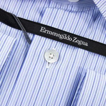 NWT $475 Zegna Blue Cotton Multi Stripe MOP Buttons Semi-Spread Dress Shirt 21US