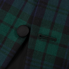 Polo Ralph Lauren Corneliani Blue Green Wool Plaid 3Btn Smoking Jacket 36R