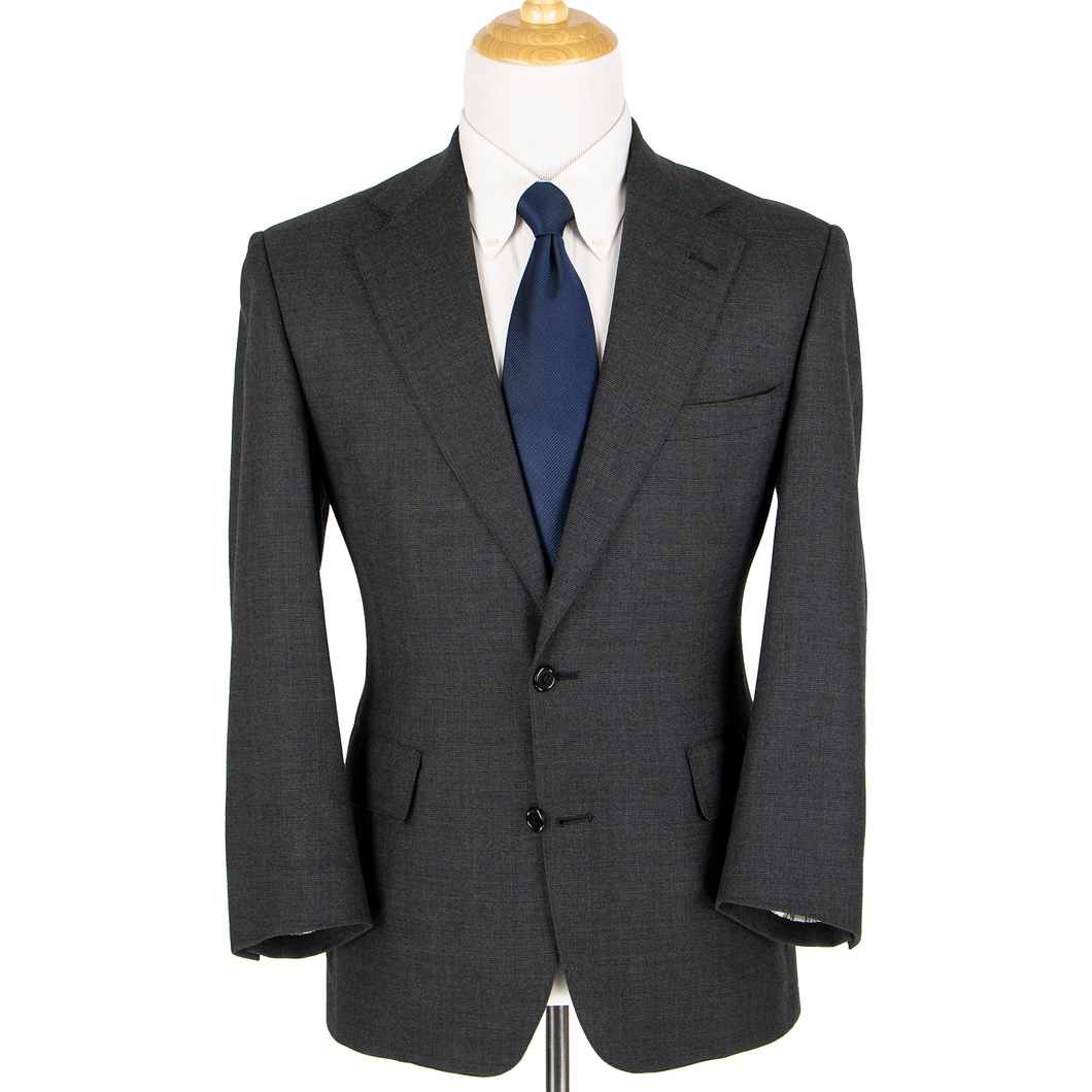 Brooks Brothers Anchor Grey Wool Glen Plaid Vented Pleated 2Btn Suit 38S