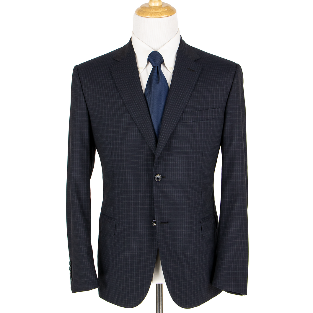Brioni Nazareno Sable Black Wool Checked Dual Vents Pleated Front 2Btn Suit 42R