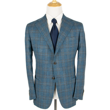 NWOT Sartoria Solito Blue Grey Slubby Plaid Surgeon Cuff Vented 3/2 Jacket 40R