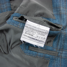 NWOT Sartoria Solito Blue Grey Slubby Plaid Surgeon Cuff Vented 3/2 Jacket 38R