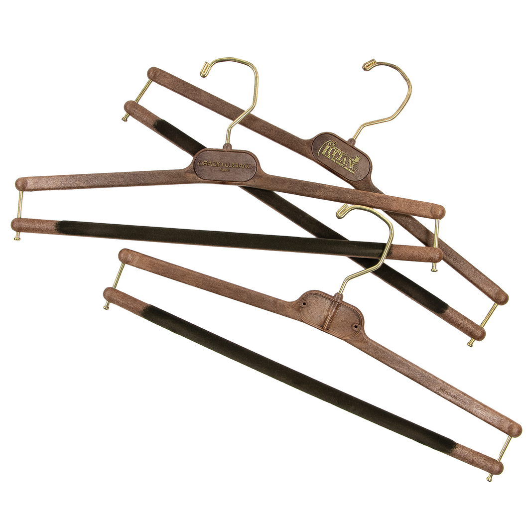 LOT x 3 Orazio Luciano Cider Brown Faux Wood Gold-Tone Accents Pants Hangers